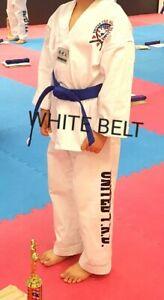 Taekwondo Uniform Set WHITE and white belt size 4(180cm)《United T.K.D.Center》