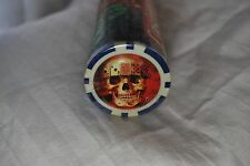 SKULL: CASINO POKER CHIPS ~ Sterling Games ~ Sunnywood Inc. 50 Pieces ~BLUE~