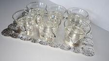 6 alte Teegläser silberfarbenes Tablett + Glashalter Teeglas Schottglas 50er