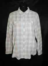 Eddie Bauer M Pink Gray Plaid Shirt Travex Long Sleeve Seersucker Texture Woman