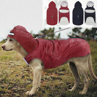Large Dog Hooded Raincoat Doggie Reflective Rain Coat Waterproof 3XL 4XL 5XL