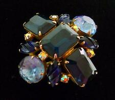 vintage large unmarked shades of blue rhinestone ab carved prong set brooch pin