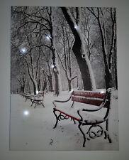 LED- Bild rote Park Bank im Winter Beleuchtung 40 x 30cm Wandbild ohne Rahmen