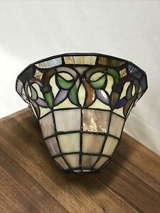 """Vtg Slag Stained Glass Lamp Shade Arts & Crafts Mission Pendant Torchiere 1 5/8"""""""