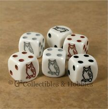 NEW 6 Owl Dice Set RPG D&D Bunco Game 16mm D6 - 3 Colors Black Brown Grey Owls