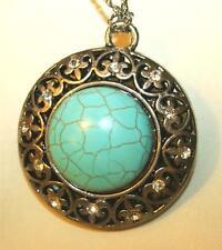 Striking Large Fleur-de-Lis Round Rhinestone Faux Turquoise Pendant Necklace