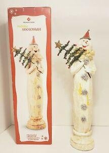 "Member's Mark Hand Painted Holiday Snowman Christmas Tree Collectible 17"" NIB"