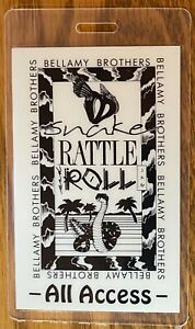 BELLAMY BROTHERS RARE LAMINATED BACKSTAGE PASS SHAKE RATTLE AND ROLL CANADATOUR