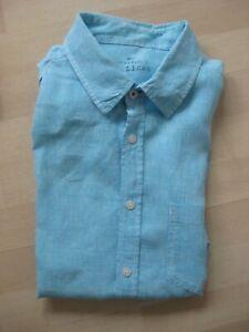 M&S Blue Harbour sky blue 100% linen long sleeved shirt Sz L