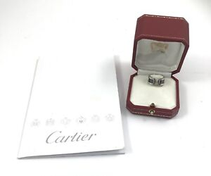 CARTIER 18CT DOUBLE C RING SIZE 49 WITH BOX AND PAPERS