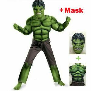 Hot Deluxe Incredible Hulk Age 3-8 Boys Fancy Dress Kids Marvel Avengers Costume