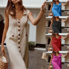 Summer Women Single Dreasted Short Sleeve T Shirt V Neck Casual Dress Size Plus