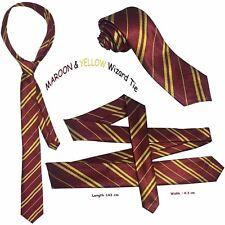 Harry Potter Tie Maroon And Yellow Stripe Hogwart Book Week Gryffindor Wizard