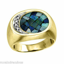 Mens Ring Diamond Mosaic Opal 14K Yellow Gold Band