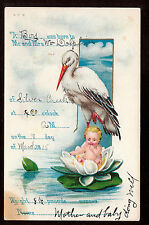 1915 Stork come for Baby on Lily Pad Birth Announcement greeting postcard