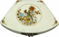 Beige Decoration Box - Oriental Hand Made Faux Leather Fan Shape Box New