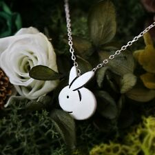 Silver pleated tiny bunny cute rabbit pendant necklace for women
