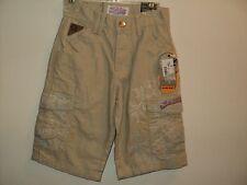 NEW Akademiks Boys Size 4 T Latte Khaki Cargo Shorts Embroidered Accents