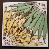 Vintage Mid Century Ceramic Tile Green Yellow