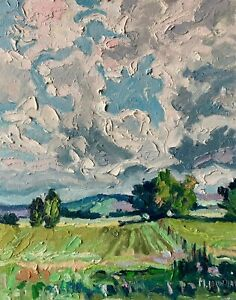 Clouds Hills Field Meadows Impressionism Landscape OIL PAINTING IDKOWIAK