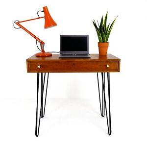 Mid Century Teak Desk / Hallway Table Hairpin Legs Vintage Drawer Computer High