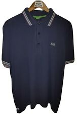 Hugo Boss Mens XL Blue Purple Paddy S/Sleeve Twin Tipped Mesh Polo Shirt 25inPit
