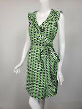 KATE SPADE Kelly Green Navy White Geometric Silk Ruffle Neck Wrap Dress sz 6