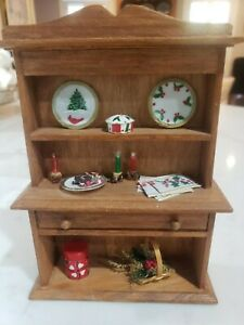 Dollhouse Miniature CHRISTMAS SANTA COOKIES BUFFET CABINET SIDEBOARD 5x4