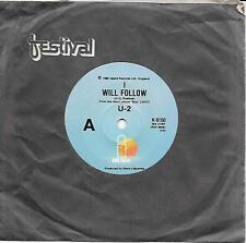 "U2 - I WILL FOLLOW / BOY/GIRL - RARE (HYPHENATED NAME) 7"" 45 VINYL RECORD - 1980"
