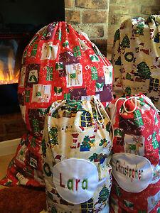 PERSONALISED EMBROIDERED CHRISTMAS SANTA SACK STOCKING-REINDEER,XMAS TREES,ELVES