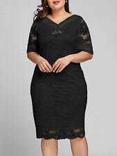 Women's Plus Size Half Sleeve Cocktail Bridesmaids Party Gown Full Lace Dress