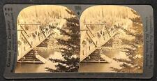 KEYSTONE STEREOVIEW PACK TRAIN BRIDGE JASPER PARK ALBERTA CANADA (c. 1900)