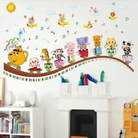 Cute Animals DIY Music Wall Sticker Kids Baby Room Nursery Home Decor Mural Art