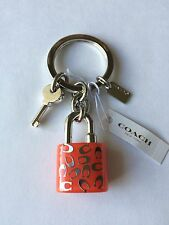 Coach SPRKL C LCTE Lock Key Chain Ring Fob/Purse  Charm Orange 63985  NWT