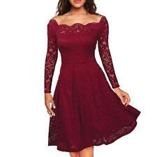 UK Womens Ladis Lace Dress Cocktail Party Evening Midi Dresses Plus Size Red 12