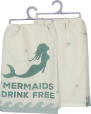 Mermaids Drink Free LOL Cotton Dish Teal Primitives By Kathy Teal Blue Wave