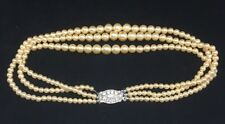 "Vintage Art Deco Signed Marvella 3 Strand Faux Pearl 12 1/2"" Necklace Choker"
