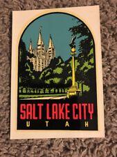 Original Vintage Travel Decal - SALT LAKE CITY - UTAH