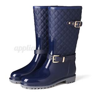 Nis Womens Wellies Boots Waterproof Anti Slip Side Buckle Rubber Rain Shoes Size