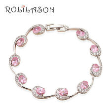 TB549 Summer Style Pink Topaz  Silver Plated Fashion Jewelry Bracelets