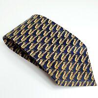 Mens Novelty Fun Saxophone Neck Tie - 100% Silk Navy - Musical gift