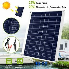 Outdoor 25W 12V Car Boat Yacht Solar Panel Trickle Battery Charger Waterproof