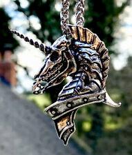 Placa de Plata Unicornio Calavera Colgante Collar