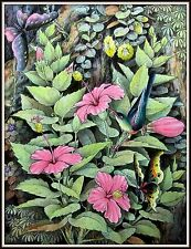 """Keliki Kawan Miniature Flora & Fauna Painting from Bali"" Signed 10.75H x 8.25W"