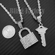"""Hip Hop Iced Silver plated Lock & Key Pendant & 24"""" Rope Chain Bling Necklace"""