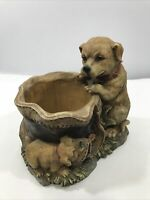 Vintage Realistic Dog Figurine Planter Resin D835