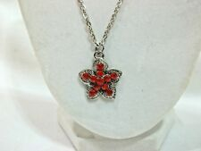 """NEW FOR THE YOUNG GIRL PRETTY RED STAR CRYSTAL 19"""" NECKLACE.....NICE"""