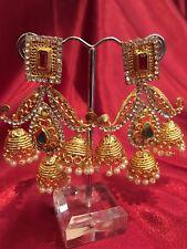 Bollywood Gimmiki Indian Designer Earrings Golden Maroon Green Gold Jhumka F9