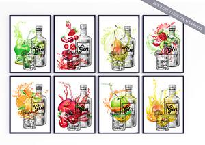 Gin KITCHEN PRINT Fruit Splash Watercolour Picture Poster A4 & A3 Unframed Art