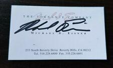 Autographed Michael Eisner business card w/coa  FORMER WALT DISNEY CEO